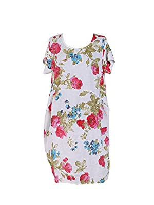 New Ladies Italian Linen Floral Pocket Dress Women Lagenlook Dress Plus Sizes