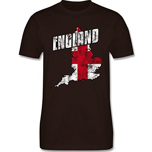 EM 2016 - Frankreich - England Umriss Vintage - Herren Premium T-Shirt Braun