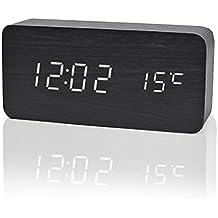 Reloj Digital Despertador de Madera con Control de Sonido y LED Brillo de la Pantalla(Puede mostrar el año, mes, día, hora, minuto y temperatura interior)color negro