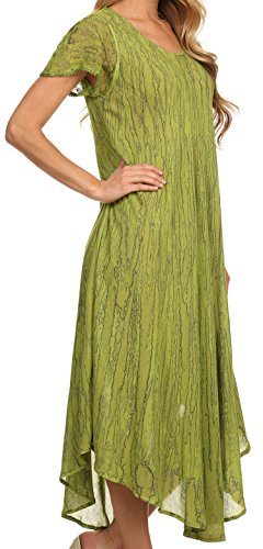 Sakkas Faye Caftan/Robe de plage Coton Mancherons Vert