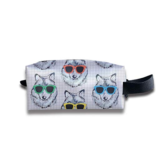 Makeup Cosmetic Bag Cool Wolves with Sunglasses Medicine Bag Zip Travel Portable Storage Pouch for Mens Womens