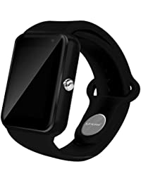 Todo-en-1 reloj elegante, ROSON® más reciente Bluetooth Watch reloj teléfono con ranura para tarjeta SIM y NFC para el iPhone de Apple IOS, Android Samsung HTC Sony LG Smartphones (BLACK)
