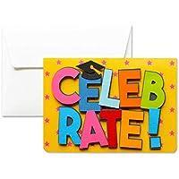 Celebrate - degré de célébrité - carte de voeux avec enveloppe (10,5 x 15 cm) - carte faite à la main - blanc à l'intérieur