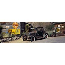 Panoramic Images – Abandoned vintage car at the roadside, Route 66, Arizona, USA Artistica di Stampa (91,44 x 30,48 cm)