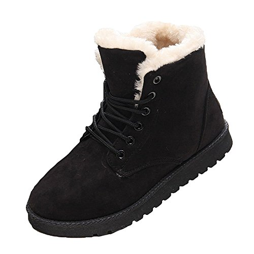 (Lace-up Martin Stiefel, Damen Wildleder Flache Plattform Sneaker Schuhe Fell gefüttert Winter Lace up Snow Boots)