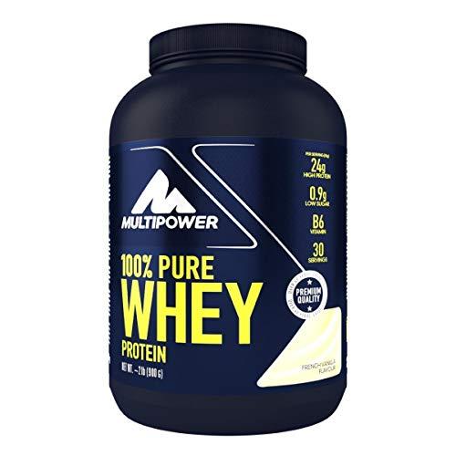 Multipower 100{9ea72ad96389bf6c7d62af8d496ede746b9522072071a48823ea344b8748f23f} Pure Whey Protein - wasserlösliches Proteinpulver mit Vanille Geschmack -  Eiweißpulver mit Whey Isolate als Hauptquelle - Vitamin B6 und hohem BCAA-Anteil - 900 g