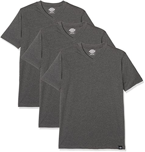 Dickies Herren Langarmshirt Streetwear Male T-Shirt V Neck Pack, Drk Grey Mel, XL (Lucky T-shirt 3)