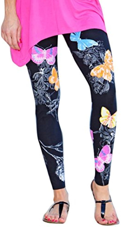 Feixiang sexy Pantalones elásticos con estampado de mariposa flaca elástica yoga pantalones deportivos polainas...