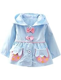 Happy Cherry - Cortaviento de Capucha de Algodón de Moda con Lazos Adorables para Princesa Bebé Niña