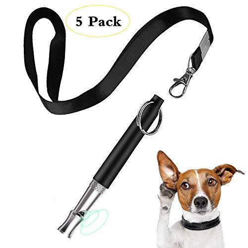 CHARLLEAN 5 Pcs Hundepfeife, Professionelle Ultraschall-Hundepfeife, Hundetraining-Pfeife mit Schlüsselband, Hundepfeifen hochfrequenz lautlos Einstellbares Pitch für einfaches Hundetraining, Schwarz