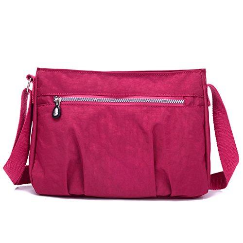 MeCooler Borse a Spalla Ragazza Messenger Bag Sport Impermeabile Borsa Tracolla Donna Borsetta Griffate Borsello per Scuola Sacchetto Borse Mare Studenti Tablet Tasca Nylon Rosso