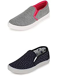 Scantron Women Girls Combo Casual Pack Of 2 Trendy Canvas Shoes With Stylish Look New Latest Fashionable Casual...