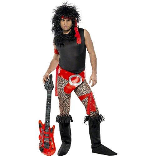 80er Star Jahre Kostüm Rock (80er Jahre Rock Star Kostüm schwarz-rot L 52/54 Rockstar Rocker Faschingskostüm)