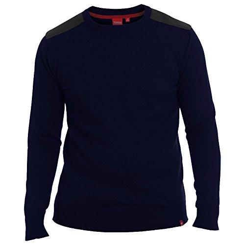 D555 Uomo Maglione A Girocollo Con Gomito & Spalla Toppe S M L XL - cotone, Navy, 100% cotone, Uomo, Small