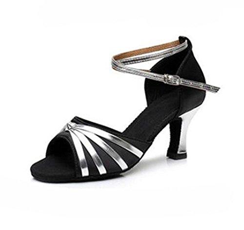 KUKI Scarpe da ballo per donna con balli latini scarpe da ballo indoor da donna con tacco alto da 7 cm 3