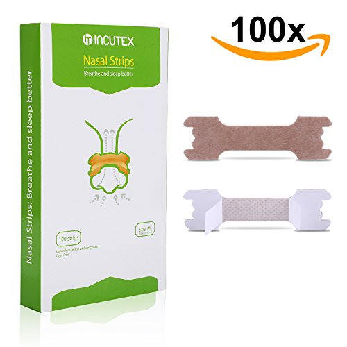 Incutex 100 Stück Nasenpflaster gegen Schnarchen Nasenstrips Schnarchstoppper, Größe M