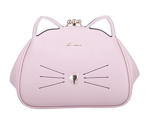 Tasche Damen Katze Klein Kunstleder Umhängetasche Mini Schultertasche für Frauen Mädchen Rosa