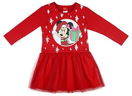 Disney - Minnie Mouse Mädchen Kleid Langarm Freizeit-Fest-Party-Kleid -