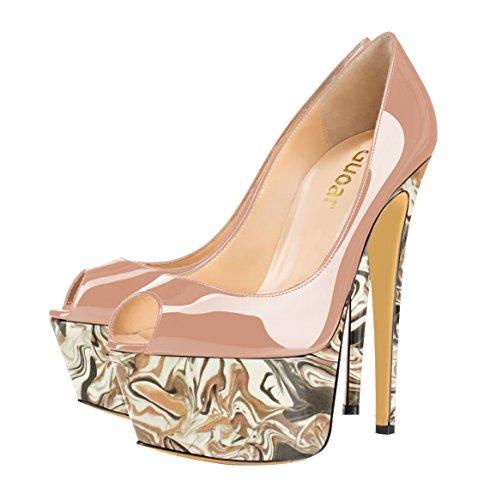 Guoar High Heels Mehrfarbe Damenchuhe Große Größe Lackleder Peep-Toe Plateau Pumps Party Hochzeit Bunt und Natural