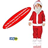 UNIq Baby Christmas Party Santa Costume Suit Outfits With Santa White Beard For The Kids 4 To 6 Years Old Boys Girls Xmas Santa My First Christmas Clothes. For Primary School Christmas Celebration & Christmas Eve Of Your Teeny-Boppers. (4 Year - 6 Yea