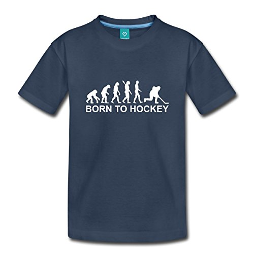 Spreadshirt Eishockeyspieler Evolution Eishockey Born to Hockey Kinder Premium T-Shirt, 134/140 (8 Jahre), Navy (Mädchen-hockey-t-shirts)