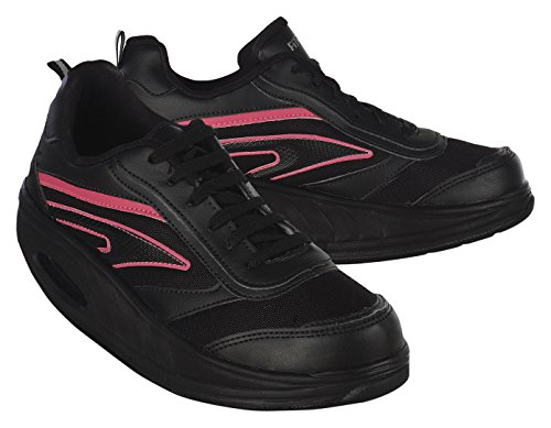 Fitness Step Neon Pink - Zapatillas tonificadoras para Mujer, Color Negro/Rosa, Talla 37
