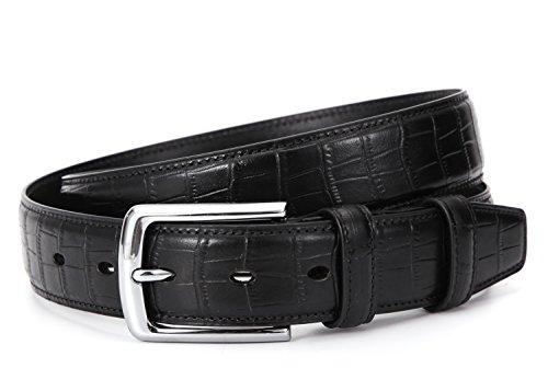Ground Mind Cinturones de cuero para hombre con patrón de cocodrilo Cinturones de vestir clásicos