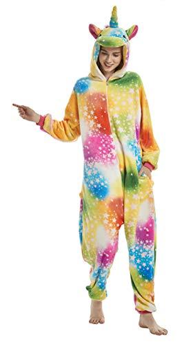 FunnyCos Erwachsene Strampelanzug Tier Pyjama Unisex Halloween Cosplay Kostüm Verrücktes Kleid Loungewear Bunt Star Pegasus XL