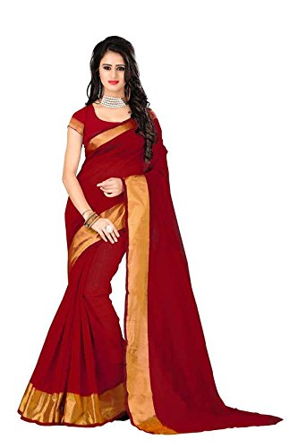 I-Brand Red Color Banglori Cotton Slik With Golden Lace Border Saree ( New Arrival Latest Best Design Beautiful Saree Material Collection For Women and Girl Party wear Festival wear Special Function Events Wear In Low Price With Todays Special Offer with Fancy Designer Blouse and Bollywood Collection 2017 )  available at amazon for Rs.256