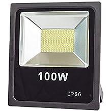 lineteckled®–e04.001.100N Proyector LED SMD Slim 100W para Exterior IP66luz natural (4500K) 10000lm 220V–Faro profesional para exterior con LED SMD–Alta luminosidad 10000lúmenes.–Bajo Consumo Dell '87% RISPETTO AL equivalente incandescente.
