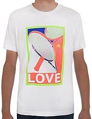adidas Performance Mens Tenis–T Shirt Top, blanco