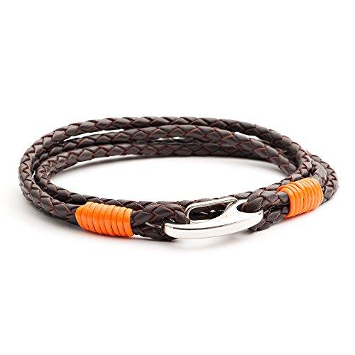 Tribal Steel 210 mm Pulsera doble de hombre en cuero marrón y naranja con cierre mosquetón en acero inoxidable