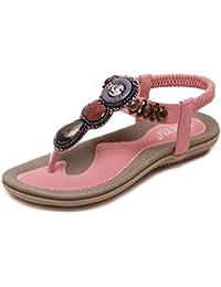Suetar-SKT Sandali da Donna Peep Toe con Cinturino a t con Gioiello  Colorati La Moda Estiva e Le comode Scarpe da… edce0274bd1
