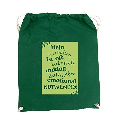 Comedy Bags - Mein Verhalten ist oft taktisch unklug - ZETTEL - Turnbeutel - 37x46cm - Farbe: Schwarz / Silber Grün / Grün
