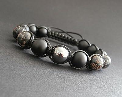 Bracelet shamballa homme pierres jaspe artic, hématite, onyx noir mat Ø10 mm