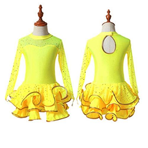 YONGMEI Tanz Kostüm-Latin Dance Kleid Mädchen Kostüme Latin Dance Praxis Kleidung Mädchen Long Sleeve Dance Wear Kinder Performance Wear (Farbe : Gelb, größe : ()
