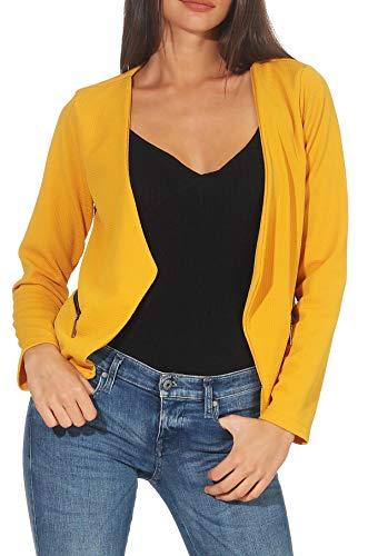 Malito Blazer Ante Basic-Look en Cremallera Business 6040 Mujer (L, Amarillo)