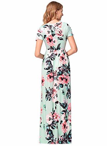 Frauen-Blumendruck-Sleeveless Boho-Kleid-Dame-Abend-Partei-langes Maxi Kleid Style-2-Grün(Kurzarm)