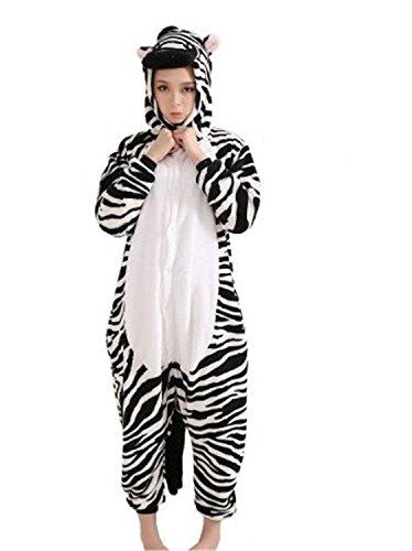 Honeystore Unisex Zebra Tier Siamesische Kleidung Erwachsene Freizeitkleidung Jumpsuit Cartoon Pyjamas (Schaf Schwarzes Kostüm Ideen)