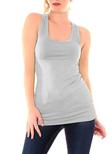 Easy Young Fashion, collezione: Basic - Canotta da donna, taglia unica Grigio chiaro