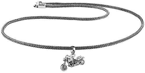 KUZZOI Herren Silber-Halskette mit Biker Motorrad-Anhänger, 925er Sterling Silber oxidiert, Länge 50cm, Königskette Herrenkette mit Anhänger, sehr hochwertig und handgearbeitet, ZOI-013