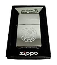 Zippo Custom Lighter - United States Marines Laser Engraved with Earth Anchor Eagle Logo - Regular High Polish Chrome