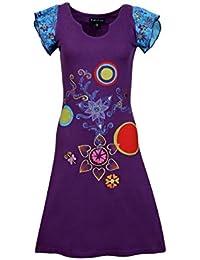 Mesdames Colorful motif de broderie et patch robe d'été à manches courtes -Pomelo