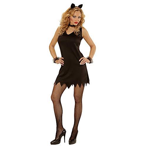 WIDMANN- Disfraz Gato Vestido, Collar, Manguito y Orejas, Color Negro, L (00023)