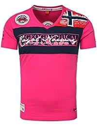 Geographical Norway Homme T-shirt JERAD V-Aussschnitt avec Broderie et Details Retour Imprimer Été