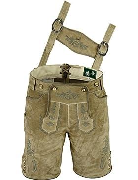 Edle Lederhose mit Träger, Trachten Lederhose Herren kurz, Damen Trachtenlederhose im Antik Wildleder Echtleder...