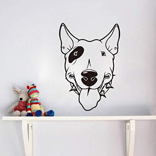 Pitbull Wandaufkleber Hund Vinyl Wandtattoos Niedlichen Hundekopf Tapeten Abnehmbare Klebstoff Kinderzimmer Aufkleber Wohnzimmer Wandhauptdekor 42X60 cm