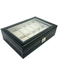 Todeco - Coffret à Montres, Boite pour Montres et Bracelets - Dimensions: 30 x 20 x 8 cm - Matériau de la boîte: MDF - 12 montres et vitre, Noir/Beige