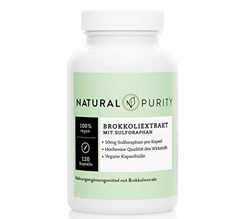 Brokkoli Extrakt - 120 hochdosierte Kapseln à 500mg - 50mg Sulforaphan pro Kapsel -100% vegan - hochreine Qualität des Wirkstoffes - Natural Purity -