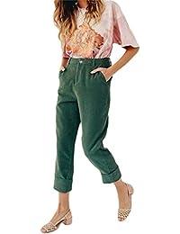 TOOGOO Pantalones De Pana De Color Solido De Moda Para Mujer Pantalones De  Dobladillo De Pie 8664afec3782
